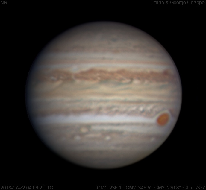 The Great Red Spot is about to set.