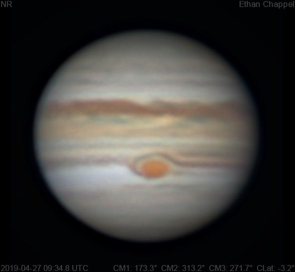 Clouds from the South Equatorial Belt are circulating around the Great Red Spot in a similar fashion to 2018