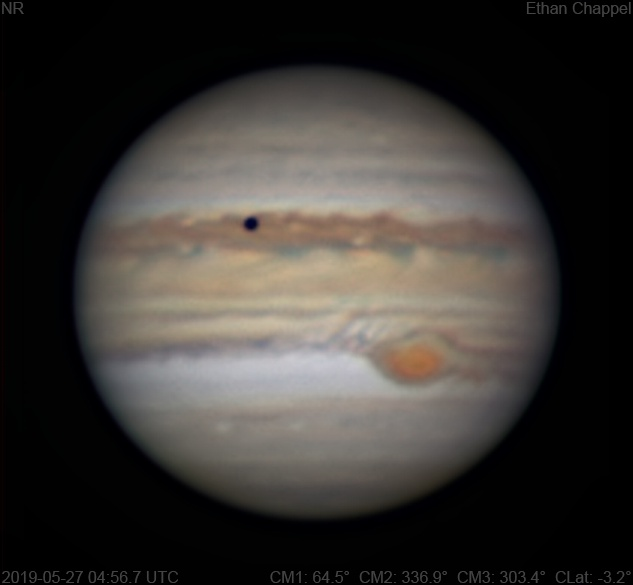 The Great Red Spot is highly sheared on the western edge.