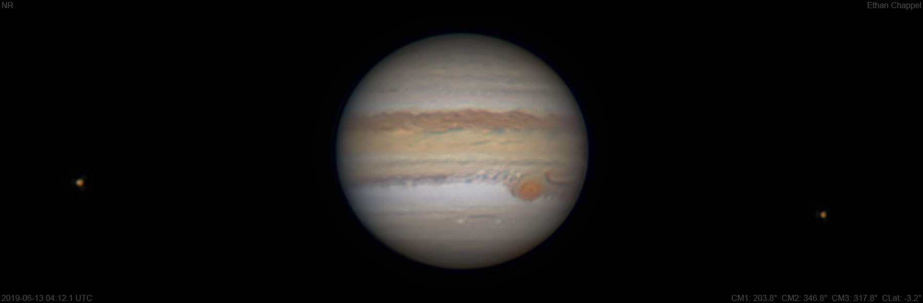 The Great Red Spot is off-center in its hollow.