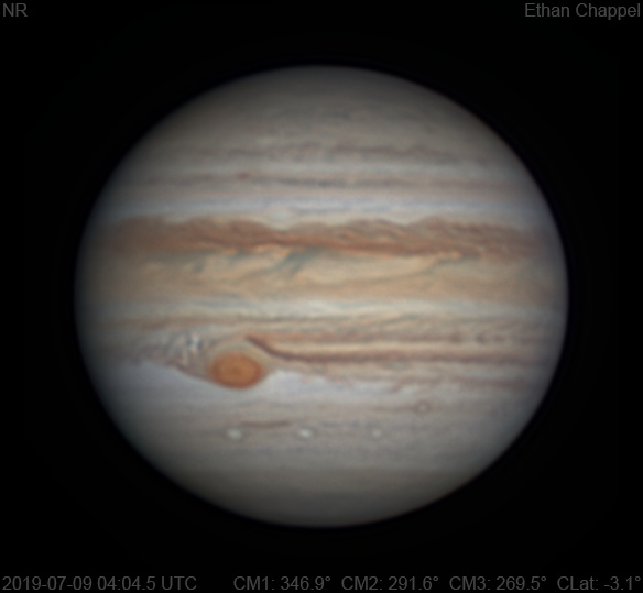 The Great Red Spot has a small flake on its western edge.